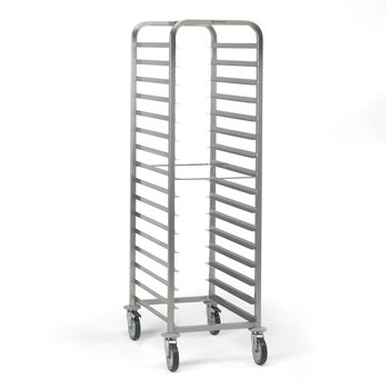 Trolley with guides for bakery trays